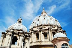 View of top of St Peter Basilica roof on May 31, 2014 Royalty Free Stock Photos