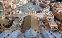 View from the top of St. Peter's basilica, Roma royalty free stock photography