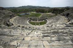 View from the top stairs of Miletus ancient theater ruins royalty free stock images