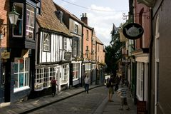 A view of the top of Steep Hill,Lincoln, Lincolnshire, United Kingdom - August 2009 stock photo