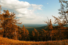 View from the top of Sugomak Mountain, Southern Urals, vintage filter Stock Photos