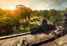 View from top on sunrise in Angkor Stock Photo