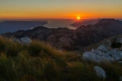 View from the top of Sveti Jure peak in the Biokovo mountains Croatia. Brac island on the background. View from the top of Sveti Jure peak in the Biokovo Royalty Free Stock Photography
