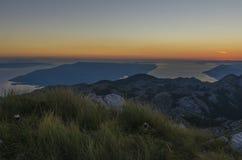 View from the top of Sveti Jure peak in the Biokovo mountains Croatia. Brac island on the background. View from the top of Sveti Jure peak in the Biokovo Royalty Free Stock Image