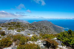 View of top of Table Mountain ins Cape Town, South Africa Royalty Free Stock Photos