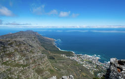 View of top of Table Mountain ins Cape Town, South Africa Stock Photography
