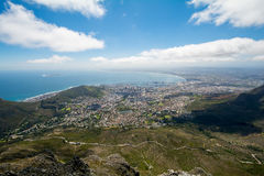 View of top of Table Mountain ins Cape Town, South Africa Stock Photo