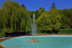 View from the top to the big fountain. In the empty park Royalty Free Stock Photography