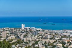 View from the top to city of Haifa in Israel and harbor at spring time. View from the top to city of Haifa in Israel and harbor at spring time stock photo