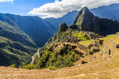View from the top to old Inca ruins and Wayna Picchu, Machu Picc Royalty Free Stock Photo