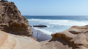 Torrey Pines State Natural Reserve. View from high up of ocean and person royalty free stock photos