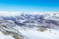 View from the top of Totten. View from the top of the mountain Totten to the valley of the river Hemsila and resort Hemsedal Royalty Free Stock Photography