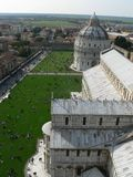 View at top of tower of Pisa. View from the top of The Leaning Tower of Pisa looking down onto the church royalty free stock photos