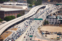 View from top of traffic road in Los Angeles stock image