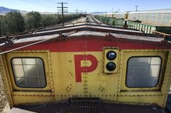 View of railyard from the top of a train. stock photo
