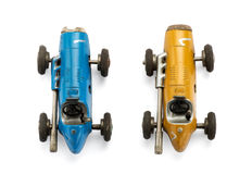 View from the top of two vintage toy racing cars Royalty Free Stock Image