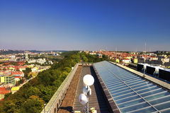 View from the top of the Vitkov Memorial on the Prague landscape and the memorials roof Stock Images