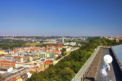 View from the top of the Vitkov Memorial on the Prague landscape and the memorials roof Royalty Free Stock Images