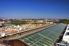 View from the top of the Vitkov Memorial on the Prague landscape and the memorials roof Royalty Free Stock Photography