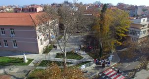 View from the top of the vocational school and the old town of Pomorie in Bulgaria stock video