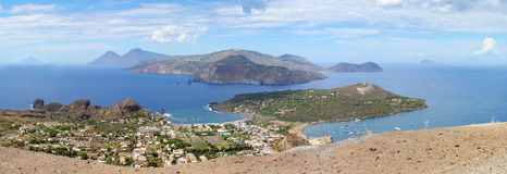 View from the top of volcano to Aeolian Islands. View from the top of volcano to Aeolian (Lipari) Islands. A volcano called Fossa di Vulcano located on the stock images