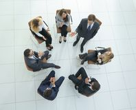 View from the top.the workshop in the office Royalty Free Stock Photo