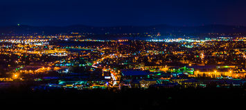 View from Top of the World at night, in York, Pennsylvania. Stock Photos