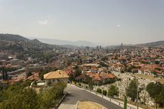 View from the top of Yellow Fortess of the city of Sarajevo. SARAJEVO, BOSNIA AND HERZEGOVINA - AUGUST 19 2017: View from the top of Yellow Fortess of the city stock photography