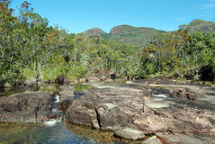 View at top of Zoe Falls on Hinchinbrook Island. Hinchinbrook Island in north Queensland, Australia, is a haven for bushwalkers. The Thorsborne Track is a 32km Stock Photo