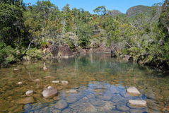 View at top of Zoe Falls on Hinchinbrook Island Stock Photo