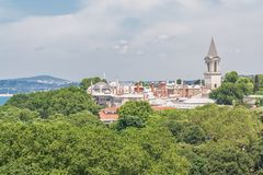 View of Topkapi Palace, among the trees in Istanbul, Turkey. View of Topkapi Palace, taken from on high, surrounded by leafy green trees in Istanbul, Turkey stock images