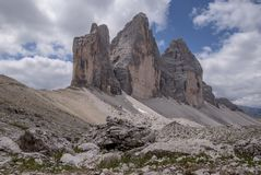 View of the tops of Tre Cime in Italy. royalty free stock photo