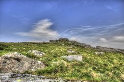 View of a Tor on Dartmoor stock images