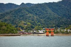 View of Torii gate in Miyajima, Japan Stock Photo
