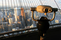 View of Toronto. These binoculars look out over Toronto, Canada from the 346m level of the CN Tower Royalty Free Stock Photos