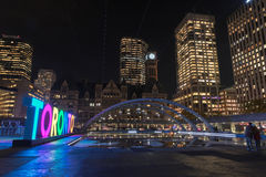 View of Toronto on Nathan Phillips Square at night, in Toronto. View of Toronto Sign on Nathan Phillips Square at night, in Toronto, Canada Stock Image