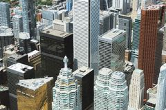 A view of Toronto financial district from the air stock photography