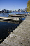 View of toronto from toronto island. With docks in the foreground Royalty Free Stock Images