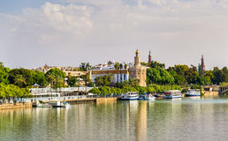 View of the Torre del Oro, a tower in Seville, Spain Royalty Free Stock Photography