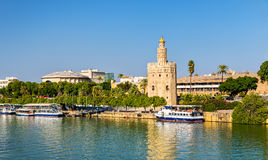 View of the Torre del Oro, a tower in Seville, Spain Stock Photo