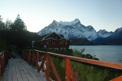 A view in Torres del Paine National Park. Torres del Paine National Park is located in the Chilean Patagonia near the city of Puerto Natales Stock Photography