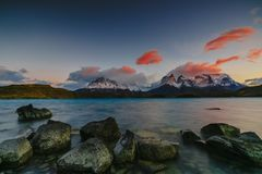 View of Torres Mountains in the Torres del Peine National Park during sunrise. Autumn in Patagonia, the Chilean side.  Royalty Free Stock Photography
