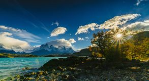 View of Torres Mountains in the Torres del Peine National Park during sunrise. Autumn in Patagonia, the Chilean side.  Royalty Free Stock Photos