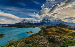 View of Torres Mountains in the Torres del Peine National Park during sunrise. Autumn in Patagonia, the Chilean side.  Royalty Free Stock Photo