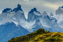 View of Torres Mountains in the Torres del Peine National Park during sunrise. Autumn in Patagonia, the Chilean side.  Royalty Free Stock Images