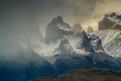 View of Torres mountains in the Torres del Peine national park during sunset. Covering the patagonism, the Chilean side.  Stock Image