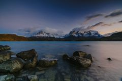 View of Torres Mountains in the Torres del Peine National Park during sunrise. Autumn in Patagonia, the Chilean side.  Stock Image