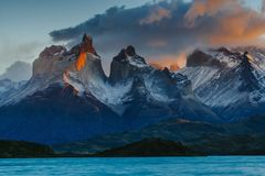 View of Torres Mountains in the Torres del Peine National Park during sunrise. Autumn in Patagonia, the Chilean side.  Royalty Free Stock Image