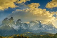 View of Torres Mountains in the Torres del Peine National Park during sunrise. Autumn in Patagonia, the Chilean side.  Stock Images