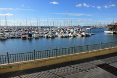 View of Torrevieja harbour. A lot of boats are parked in the harbour of Torrevieja, Spain Royalty Free Stock Images